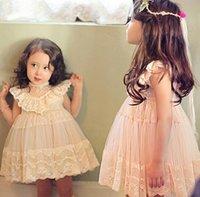 Wholesale Korean Casual Formal Dressing - 2016 Children Girl Korean Style Brand Dress Children's Girls Sleeveless Sweet Dress Kids Girl Lace Princess Dresses tutu girls dress lot