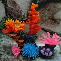 suni akvaryum mercan bitkileri toptan satış-Silikon Akvaryum Balık Tankı Yapay Mercan Bitki Sualtı Süs Dekor # R21