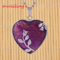 Wholesale Heart Necklace Red Rose - Silver Plated Necklace Pendants Jewelry Natural Stone Amethyst Opal etc Heart Rose Mascot Reiki Pendant Charms European Fashion Jewelry