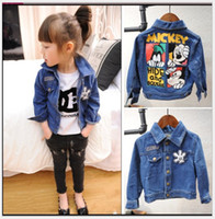 Wholesale Duck Jacket Girl - 2016 New Autumn Kids Boys Girls Cartoon Mickey Mouse Denim Jacket Children Cowboy Outwear Korean Style Baby Boy Girl Cowboy Jackets Coats
