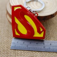 Wholesale Compass Keychain Logo - Super Hero Superman Logo Metal Keychain Pendant Key Chains Movie Toy Pendant Super Hero Keyring Gifts For Christams Free DHL K26L