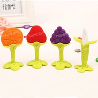 Wholesale Baby Silicone Banana Teether Training Baby Dental Care Toothbrush Training Fruit Shape Teether Infant Teething Toy