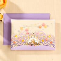 Wholesale Lavender Flower Wedding Invitations - Romantic Purple Laser Cut Castle Wedding Invitations Elegant Lace Flowers Dinner Party Cards with Envelopes CW7065