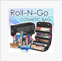 Wholesale Large Black Makeup Cases - Waterproof Men Hanging Makeup Bag leather Travel Organizer Cosmetic Bag for Women Large Necessaries Make Up Case Wash Toiletry Bag with box