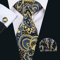 Wholesale Italian Gold Set - Fress Tie Silk Tie Italian Mens Neck Ties Pocket Square Cufflinks Set for Gift Wedding Party Business N-1628