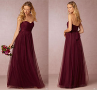 Wholesale Sweetheart Neckline Bridesmaid - Dark Cherry Tulle Long Bridesmaids Dresses Pleated Sweetheart Neckline A Line Ruched Floor Length 2016 Burgundy Wedding Maid Of Honor Gowns
