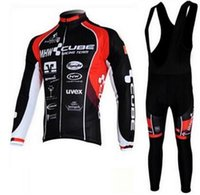 Wholesale Maillot Cube - CUBE pro cycling jersey 2017 winter thermal Fleece ropa ciclismo maillot ciclismo bicicleta bike cycling clothes roupa ciclismo set