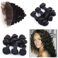 Wholesale full hair weave styles - Free Part Style 13x4 Full Frontal Lace Closures and Hair Peruvian loose Wave Lace Frontal with 3 Bundles Human Hair G-EASY