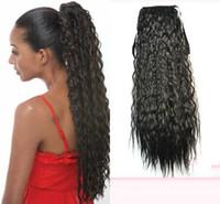 ingrosso capelli africani sintetici ricci-Sara 14 Color Afro Puffs Coda di cavallo con coulisse Kinky Deep Hair ricci Coda di cavallo Extension Long 60CM, 24 pollici PonyTail Capelli sintetici Pezzi