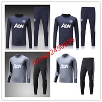 Wholesale Shinny Suits - top thai quality 2017 2018 Survetement football man tracksuit training kits Soccer 17 18 united training shinny tight pant sweater suit