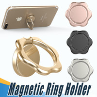 Wholesale Rose Gold Flower Ring - Flower Finger Ring Magnetic Holder Metal Original 360 Degree Mobile Phone Universal Stand Holder Fit For iPhone X 8 All Smartphone