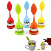 Wholesale Enamel Lid - Silicon Tea Leaf Silicone Infuser Creative Food Grade Filter Strainers Stainless Steel Spoon Strainer Green Lid Pot Sphere Mesh Ball
