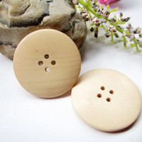Wholesale Trimming Wood - 50pcs large wood sewing buttons 4 holes 30mm round shape natural color water lacquered environmental for Sweater Overcoat BW001