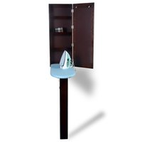 Wholesale Iron Cabinets - Brown Ironing Board Ironing Cabinet Folding Box With Leg Support and Dressing Mirror Hang over The Wall Free Shipping