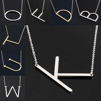 Wholesale English Alphabet Letters - New Stainless Steel A-Z English Letter Necklace Silver Gold Initial Pendants Alphabet for Women Girls fashion Jewelry Gift Drop Shipping