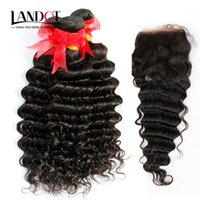 Wholesale brazilian natural curly hair weave blonde for sale - 5 Bundles Virgin Brazilian Deep Wave Curly Human Hair Weaves With Lace Closures Malaysian Peruvian Indian Cambodian Mongolian Remy Hair