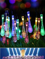 Wholesale Dc 12v Water Lamp - Waterproof 20 LEDs 4.8M 16ft Drop LED String Light Outdoor Solar Garden Lamp with 4 Color For Christmas Wedding Party Decoration MYY