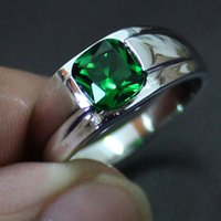 Wholesale Mens Cz Rings Sterling Silver - Wholesale- MMDGEM Mens 925 Sterling silver Square 5a Green Zirconia CZ Stone Solitaire Wedding Ring Classic Don't Change Color