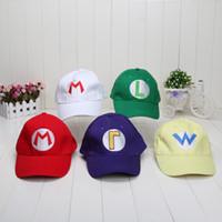 Wholesale Super Mario Cosplay Hat - Super Mario Bros Cosplay hats Mario Luigi Wario Waluigi baseball Hat Super mario baseball hat 5 colors