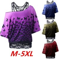 Wholesale Loose Collar Shirts Wholesale - Wholesale- Sexy Skew Collar Lace Trim Patchwork T-Shirt Women Loose Top Tees Butterfly Print Short Sleeve T Shirt Womens Casual Blusa