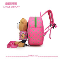 Wholesale Childrens Bag Cute - Shoulder Bag Cheap Patchwork Teddy School Bags Portable Cute Cartoon Childrens Backpacks for Traveling Adjustable Straps Zipper Closure