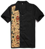 Wholesale Rockabilly Shirt L - Wholesale-Fashion Casual Novelty Printing Tattoo Male Top Short Sleeves Rockabilly Hiphop Vintage 40s 50s American Club Plus Size Shirts