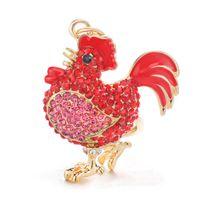 kristall schlüsselanhänger tiere großhandel-Cock Luxury Rooster Chicken Schlüsselanhänger Crystal Trinket Schlüsselanhänger Ketten Halter Metall Tier Schlüsselanhänger