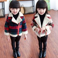 Wholesale Green Sherpa - New Autumn Winter Baby Little Girls Quilting Coat Sherpa berber Fleece Colorful Overcoat Topcoat Kids Clothes Children Girls Wool Dress
