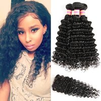 Wholesale Peruvian Virgin Hair Bundles With Closure Deep Wave Human Hair Lace Closure Deep Curly Weave With Closure