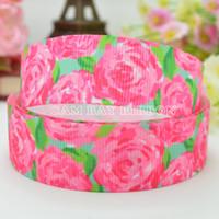 "Wholesale Grosgrain Ribbon 22mm - HOT 7 8"" 22mm Pink Rose Flowers Print Grosgrain Ribbon Hair Bow DIY Handmade Sewing Ribbon Crafts Materials Garments Decorating Tape"
