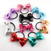 Wholesale Glitter Headbands For Women - 12 pcs a lot fashion glitter girls sequin hair bow with head bands scrunchies for girl women