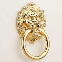 Wholesale Knob Cabinet Gold - 68mm gold Lion Drawer Pull Knobs Handles Dresser Drop Pulls Rings Gold Lion Head furniture handles Cabinet Knob Handle