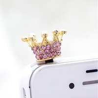 Wholesale Diamond Crown Plug Phone - Fashion 3.5mm elegant shining Crown Satellite Diamond Dust Plug Phone Accessories for smart mobile Phone