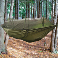 Wholesale Outdoor Family Activities - Hot Outdoor Activities Camping Parachute Survival Hammocks with Mosquito Net Portable High Strength Hammocks Hanging Beds Hiking Emergency