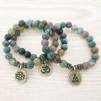 ingrosso lotus regali-SN1110 Nuovo Design Bracciale da uomo India Agata Ohm Lotus Buddha braccialetto di fascino Mala Yoga gioielli regalo all'ingrosso per lui