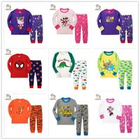 Wholesale Dinosaur Pyjamas - 6 Sets  lot Children Baby Boy's Girl's Kids Long Sleeve Pajamas Suit Minnie Mouse Shark Dinosaur Boys Girls Sleepwear Homewear Pyjamas Set