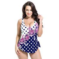 Wholesale Retro Floral - Wholesale- Latest ! Vintage Pad Swimwear Women Retro Plus Size One Piece Swimsuit Dress 4XL Floral Dot Backless Soft Bathing Suit F1692