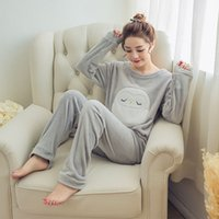 Wholesale Sexy Owl Shirt - Autumn Winter Womens Pajama Sets Soft Thick Flannel Cartoon Owl O Neck Long Sleeve Pullover + Pants Warm Sleepwear Mujer Primark