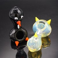 Wholesale Black Bird Types - Wholesale Penguin Hand Pipe Animal Glass Pipes with Single Bowl Black Clear Colored Duck Bird Shape Glass Bubbler Mini Size Free Shipping