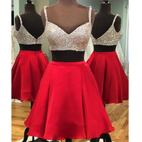Wholesale black hot pink 15 dresses - Hot Sale Two Pieces Homecoming Dresses Crystals Beads Sweetheart Formal Party Gowns Sweet Homecoming Dresses Cocktail Dresses