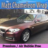 voiture d'or mat achat en gros de-Caméléon mate pourpre d'or vinyle avec Air Bubble Freeinyl voiture véhicule wrap flip film feuille auto couverture feuille 1.52x20m / Roll 4.98x66ft