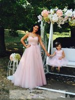 Wholesale Made Match Ribbon - Pink Sweetheart Mother And Daughter Evening Prom Dresses Sweep Tulle Best Matching Party Gowns Flower Girls Dresses Special Occasion Gowns