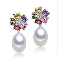 blüten süßwasserperlen großhandel-neueste Wassertropfen natürliche 8-9mm Perlenohrring 925 Silber überzogene baumeln Ohrringe bunte Kristall Blume Süßwasser kultiviert