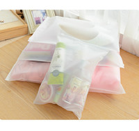 Wholesale self sat - Wholesale- Portable Travel Set Cosmetics Clothes Lingerie Bag Transparent Plastic Storage Bag Self Sealed Zipper