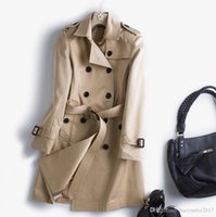 Wholesale Classic Khaki Trench Coat - 2017 Autumn New High Fashion Brand Woman Classic Double Breasted Trench Coat Waterproof Raincoat Business Outerwear