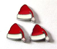 Wholesale Wholesale Christmas Floating Charms - New Design FC327 floating locket charms 10pcs Christmas Santa Hat for floating living locket as gift wholesales free shipping