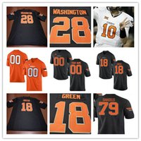 Mens Oklahoma State Cowboys College # 18 Za'Carrius Green 28 James Washington 79 Darrion Daniels Branco Laranja Preto Stitched Jersey S-3XL