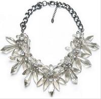 Wholesale Crystal Spike Collar - Resin crystal necklace cluster flower necklace spike bib chunky necklace&pendants women statement bib choker statement collar