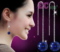 Wholesale Swarovski Rhinestone Silver Balls - 18K White Gold GP Swarovski Crystal Ball Bead Lady Wedding Earrings Hook E147 tbrushed gold plated easpoons 925 stud earrings bar
