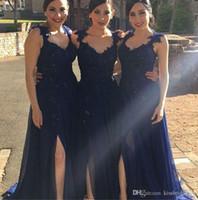 Wholesale Taffeta Fabric Sequin - Navy Blue Lace 2016 Bridesmaid Dresses Leg Split Formal Evening Prom Dresses With Sequins Beading Sweetheart Neck Zip Back Chiffon Fabric